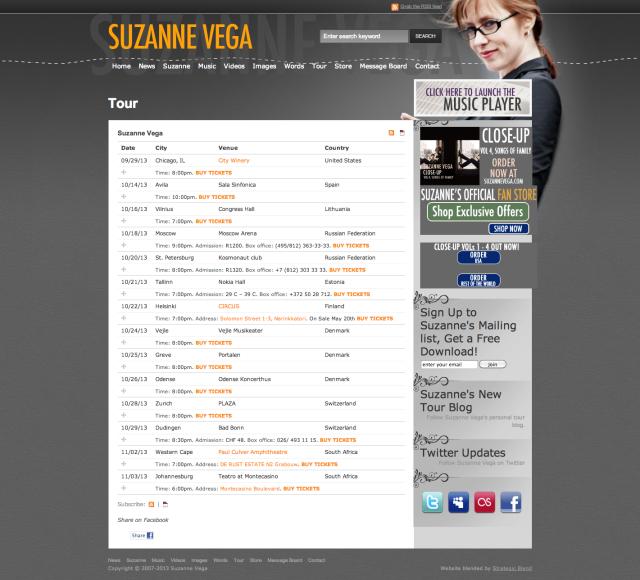 Suzanne Vega| Tour